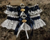 Dallas Cowboys white lace wedding garter set any size, color or style.