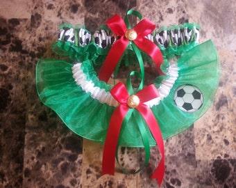 Fifa 2014 Mexico Soccer Team Customize Wedding Garter Set.