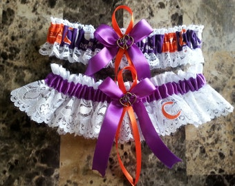 Clemson University white lace & purple Wedding Garter set any size and color.