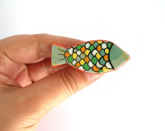Orange fish brooch, paper mache pin, animal jewelry, recycled jewelry, eco friendly jewellery, handpainted brooch