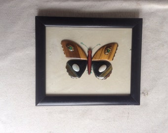 Vintage stone butterfly artwork. Rock gem butterfly   Butterfly art