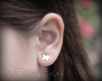 TEXAS EARRINGS - texan stud earrings, sterling texas earrings, native texan, proud Texan, state ring, texas