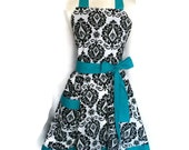 Sexy Classic Flirty Apron, Black and White Damask apron, teal ties and band around the bottom, aprons for women, bridal shower gift, cute