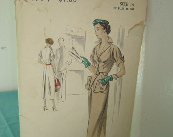 1940s Vogue Special Design Pattern No. S-4994 One Piece Dress Size 14  Bust 32  Hip 35