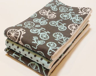 Burp Cloth set of 3 Baby Boy Bicycles In Gray
