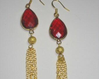 Red Tear Drop with Gold Chain Earrings,Earrings,Jewelry,Gold Earrings,Gift for Her,Dangle Earrings,Chain Earrings,Evening Earrings,birthday
