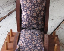 folk art rocking chair pincushion calico print rustic farmhouse country sewing room supplies