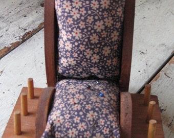 folk art rocking chair pincushion calico print rustic farmhouse country sewing room supplies
