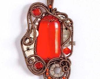 OOAK Orange steampunk fused glass wire wrapped pendant
