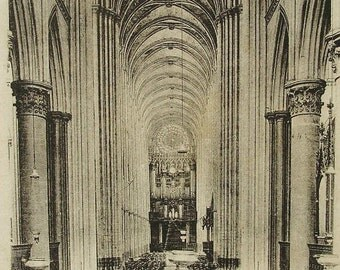 Antique French Postcard - Interior of Rouen Cathedral