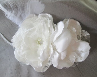 Bridal Hair clip, facinator fabric flower wedding hair accessory in ivory or white