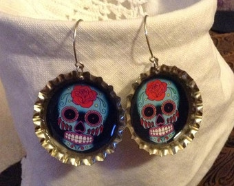 Turquoise and Red Sugar Skull Earrings