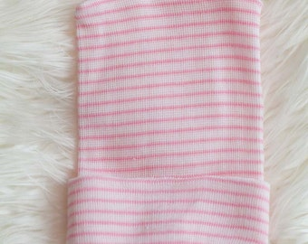 6 pieces of Pink and White Striped Girl Single Ply Newborn Hospital Hat - Baby Beanie - Craft Supplies