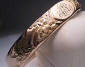 Antique Gold Bangle Bracelet Floral Vintage Victorian