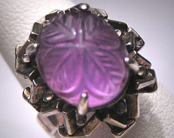 Antique Carved Amethyst Ring Vintage Art Deco Wedding