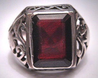 Antique Vintage Victorian Garnet Ring Silver Filigree
