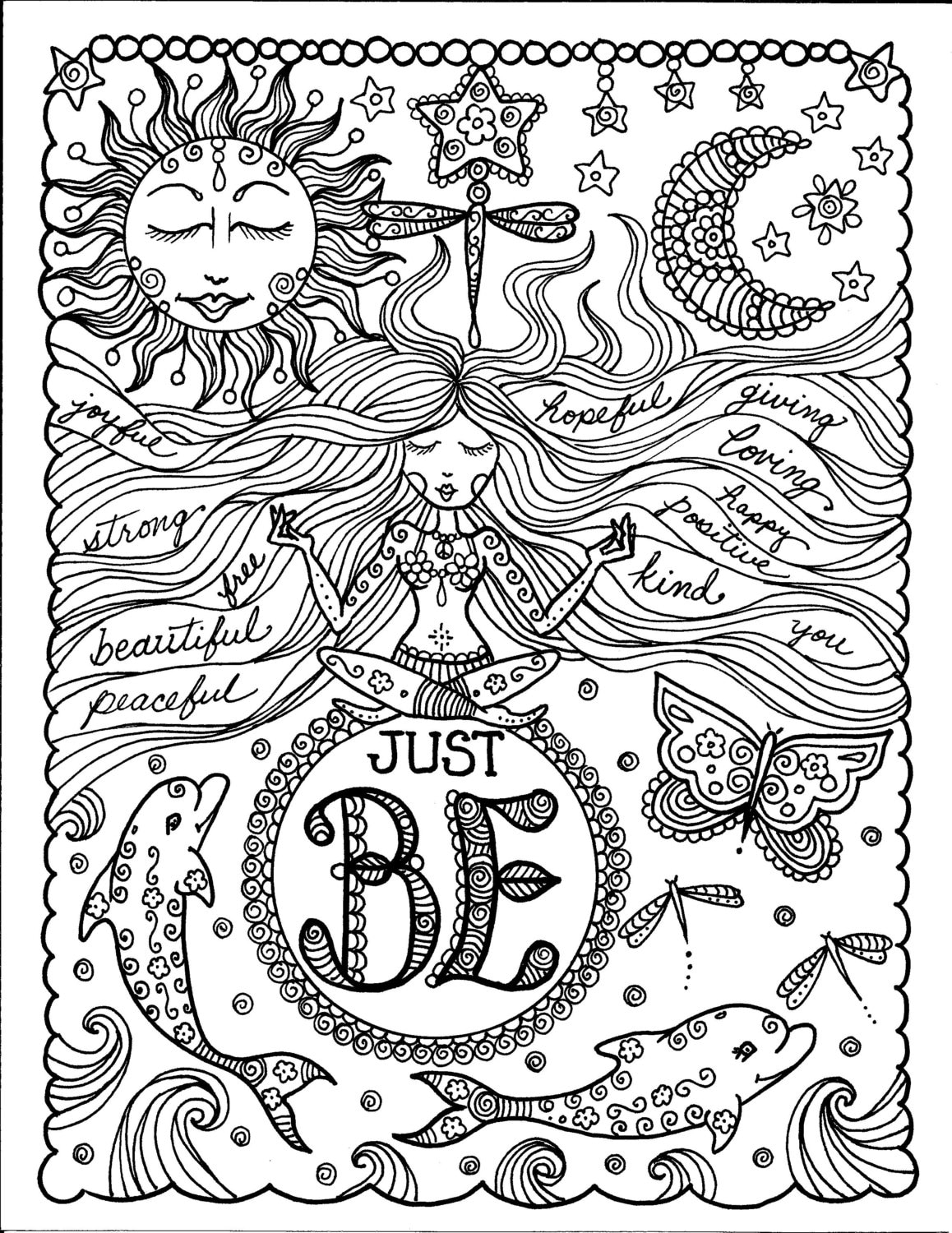 Instant Download Just BE Inspirational Art for you to Color