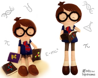 Geek Sewing Pattern PDF DIY Nerd School Boy Doll  - Master Tippy Toes - includes removable glasses and books