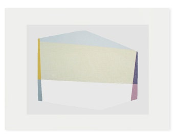 Geometric screenprint, large original handmade silkscreen, abstract art, modern wall decor. Emma Lawrenson