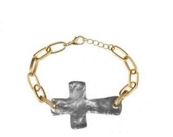 Hammered silver sideways Cross on Gold Link Bracelet