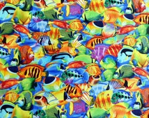 Fish Fabric, Bright Cotton Material, Timless Treasures