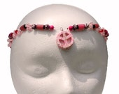 Pink and red daisy chain forehead band, headband or necklace, stone peace sign pendant Hippie Renaissance