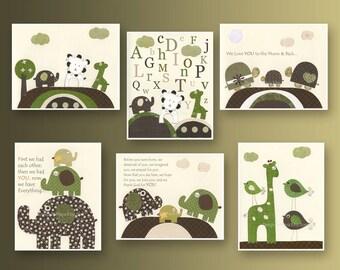 Kids Wall Art, Nursery Art Print, Baby Boy Nursery Art // Elephants Lion Turtles Birds Giraffe // Green Brown Tan // Set of 6 Prints
