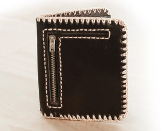 SALE, Hand Stitched Black Leather Wallet with Snap Closure and Zippered Pocket
