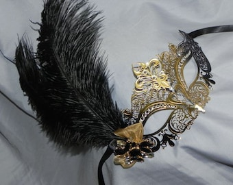Metallic Masquerade Mask in Black and Gold - Made to Order