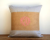 coral monogrammed burlap pillow wrap, navy, nautical, rustic cottage shabby chic, wedding gift, bridesmaids gift, housewarming gift