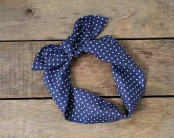 navy and white polka dot headscarf, retro tie up headband adjustable, summer fall, knotted headband. 4th of July, patriotic