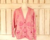Chunky pink floral woven vintage knit cardigan sweater/Benetton chunky wool sweater/medium/large