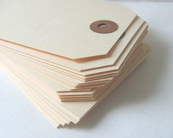 "50 Extra Large Manila Shipping / Parcel Tags - 4 3/4"" x 2 3/8"" - Blank - Plain - Price / Favor Tags - Scrapbooking - Crafting - 4.75"" Cream"