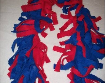 red and royal blue zig zag cut fleece scarf