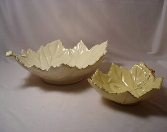 Set of 2 Virginia Made in Italy Leaf Shape Bowls