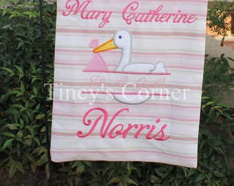 Split Stork Girl Appliqued Garden Flag with Baby's Name
