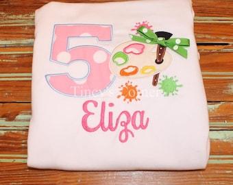 Happy Birthday Artist's Pallet Appliqued Ruffle Shirt