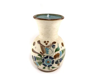 Hand painted Mexican pottery bird vase, signed art pottery