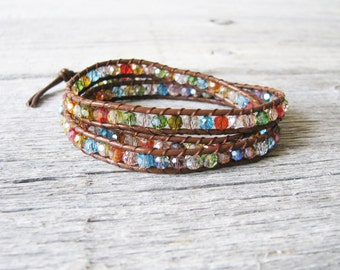 Crystal Wrap Bracelet,Healing Crystals, Colored Crystal Bracelet, Yoga Jewelry, Chakra Jewelry