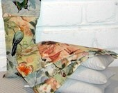 Lavender Aromatherapy Eye Pillow in Muslin with Velcro Closure and Birds Of A Feather Print Washable Eye Pillow Cover