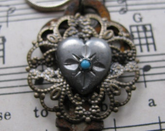 One of a Kind Small Key Necklace Sterling Heart with Turquoise and Filigre