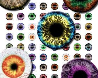 14mm Eyes Printout Collage Sheet of 42 Designs for Cabochon and Jewelry Making or Scrapbooking
