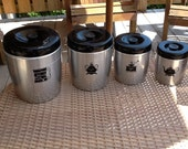 Vintage set of 4 stainless kitchen cannisters 1950 retro kitchen