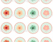 Coral and Mint Flower Printable Cupcake Toppers Treat Toppers Birthday or Shower Toppers Clipart Prints