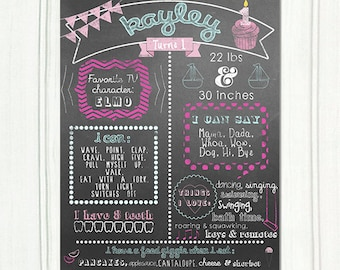 Custom First Birthday Chalkboard Sign Print. Personalized Party Printable Poster Pink, Fuschia, Teal, Aqua, White