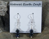 Dark navy blue lapis earrings rondelle lapis with pyrite semiprecious stone jewelry packaged in a colorful gift bag 2492C