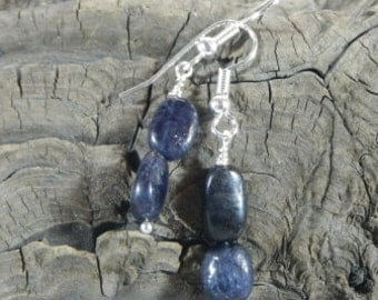 Dark blue gray iolite earrings water sapphire September birthstone semiprecious stone jewelry in a colorful gift bag 2575 A B