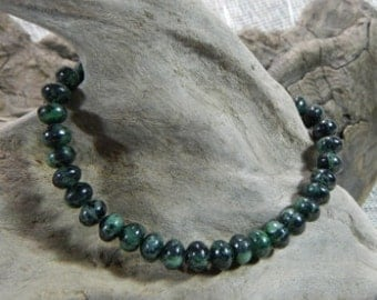 "Dark green black zoisite bracelet 9"" long semiprecious stone jewelry Summer Autumn packaged in a colorful gift bag 10257"