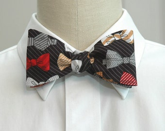 Men's Bow Tie, bow ties & pinstripe design, black, red bow tie, lawyer gift bow tie, business bow tie, boardroom bow tie, tuxedo accessory