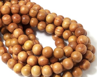 Narra Wood, 12mm, Light, Golden Brown, Round, Smooth, Natural Wood Beads, Large, 16 Inch Strand - ID 1656-LT2